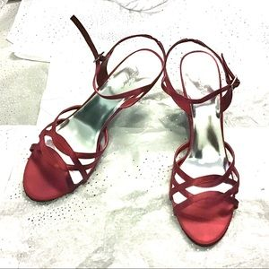 Strappy Red Stiletto Heels - Size 10